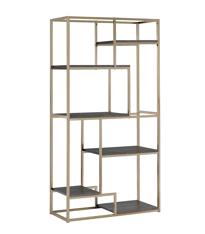 Amazon.com: Furniture of America Corley Contemporary 6 Shelf Bookcase,  Champagne: Kitchen & Dining