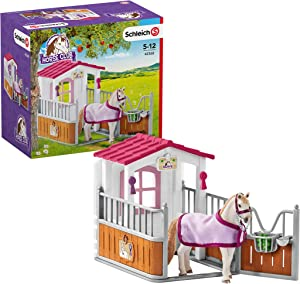 Schleich Horse Club Horse Stall with Lusitano Horses 12-piece Educational Playset for Kids Ages 5-12