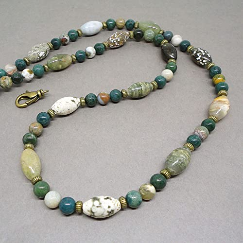 2b7a4919518afd Amazon.com: Mens Natural Stone Beaded Necklace - Multi-colored Ocean ...