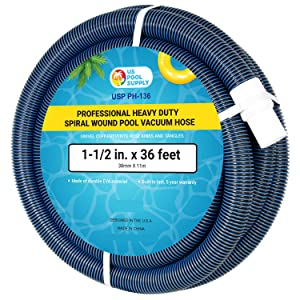 "U.S. Pool Supply 1-1/2"" x 36 Foot Professional Heavy Duty Spiral Wound Swimming Pool Vacuum Hose with Swivel Cuff"