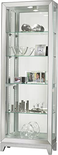 Howard Miller Marlowe Corner Curio Cabinet 680-529 Hampton Cherry Glass Display Shelf Case with Light
