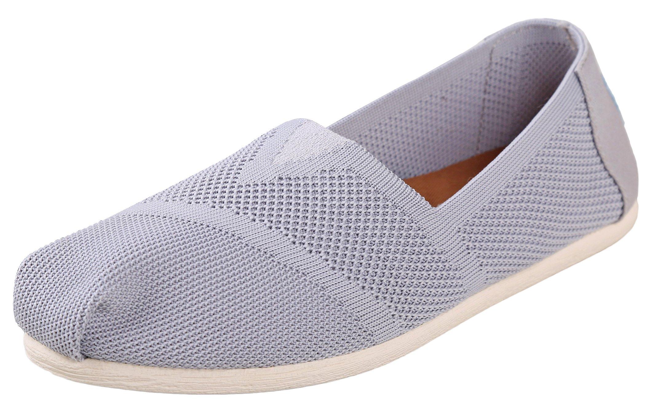 TOMS Women's Classic Flat Slip-On Drizzle Grey Custom Knit 8.5