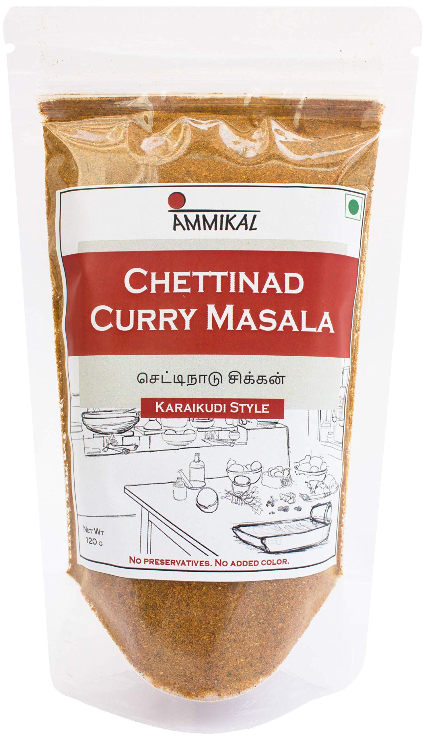 Ammikal Chettinad Masala (120G) | 100% Veg | Use with Chicken, Mutton, Prawns, Paneer, Yam and More