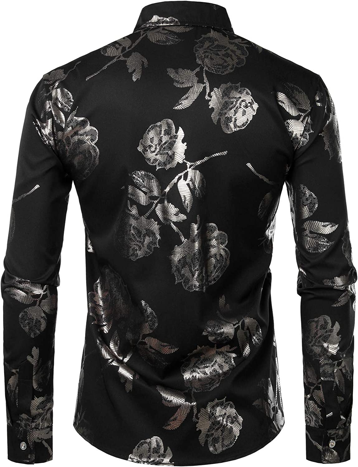Beloved Mens Luxury Business Gold Shiny Flowered Printed Stylish Button Down Shirt