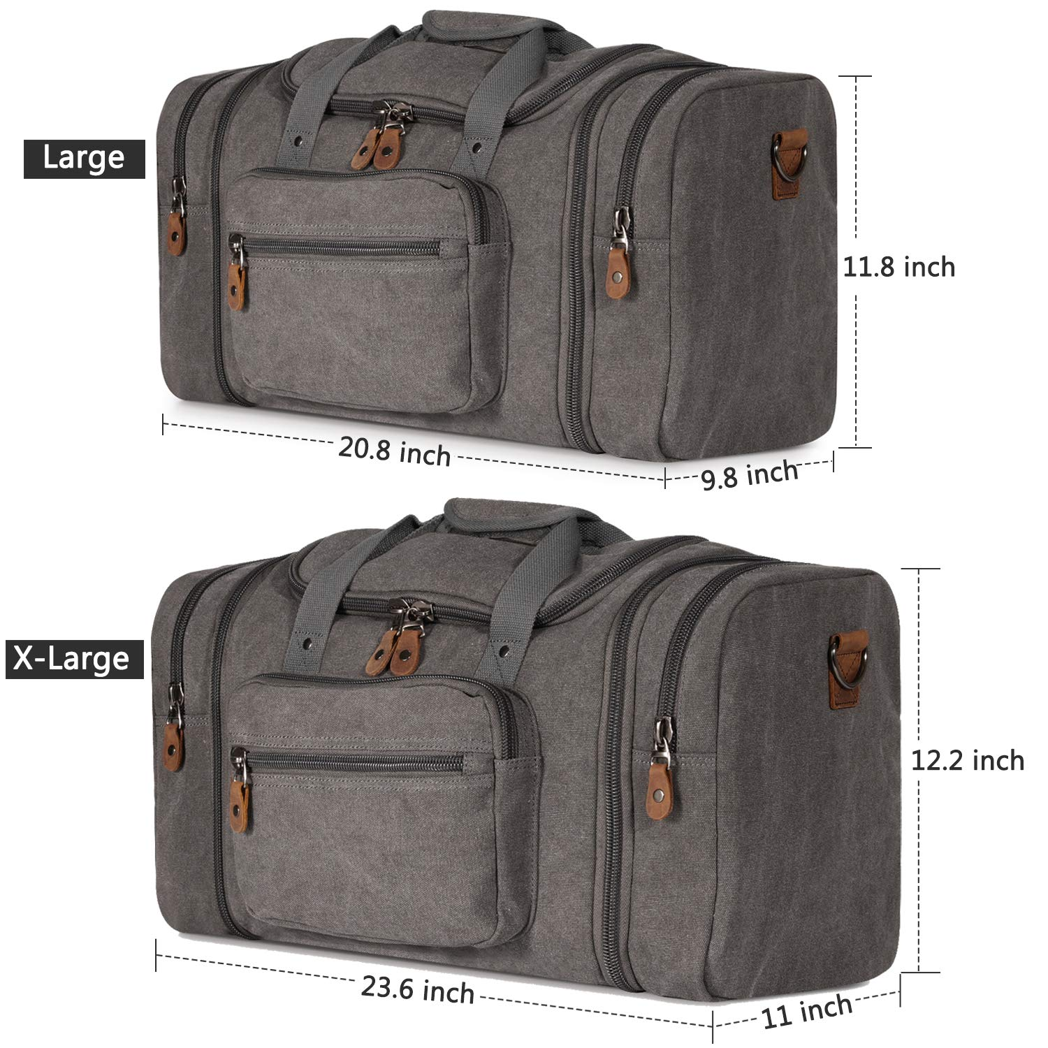 Plambag Canvas Duffle Bag for Travel Oversized Duffel Overnight Weekend Bag Dark Gray
