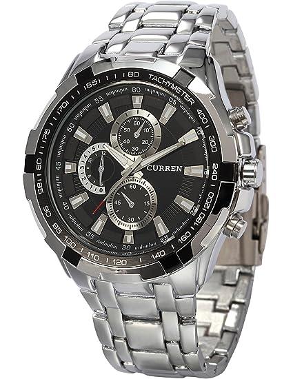 AMPM24 CUR014 - Reloj Hombre de Cuarzo, Correa de Acero Inoxidable Plateado