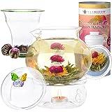 Teabloom Wings of Love Blooming Tea Gift Set - 40 oz Borosilicate Glass Teapot, Teapot Warmer, Glass Loose Tea Infuser, 12 Fruit Flowering Tea Canister