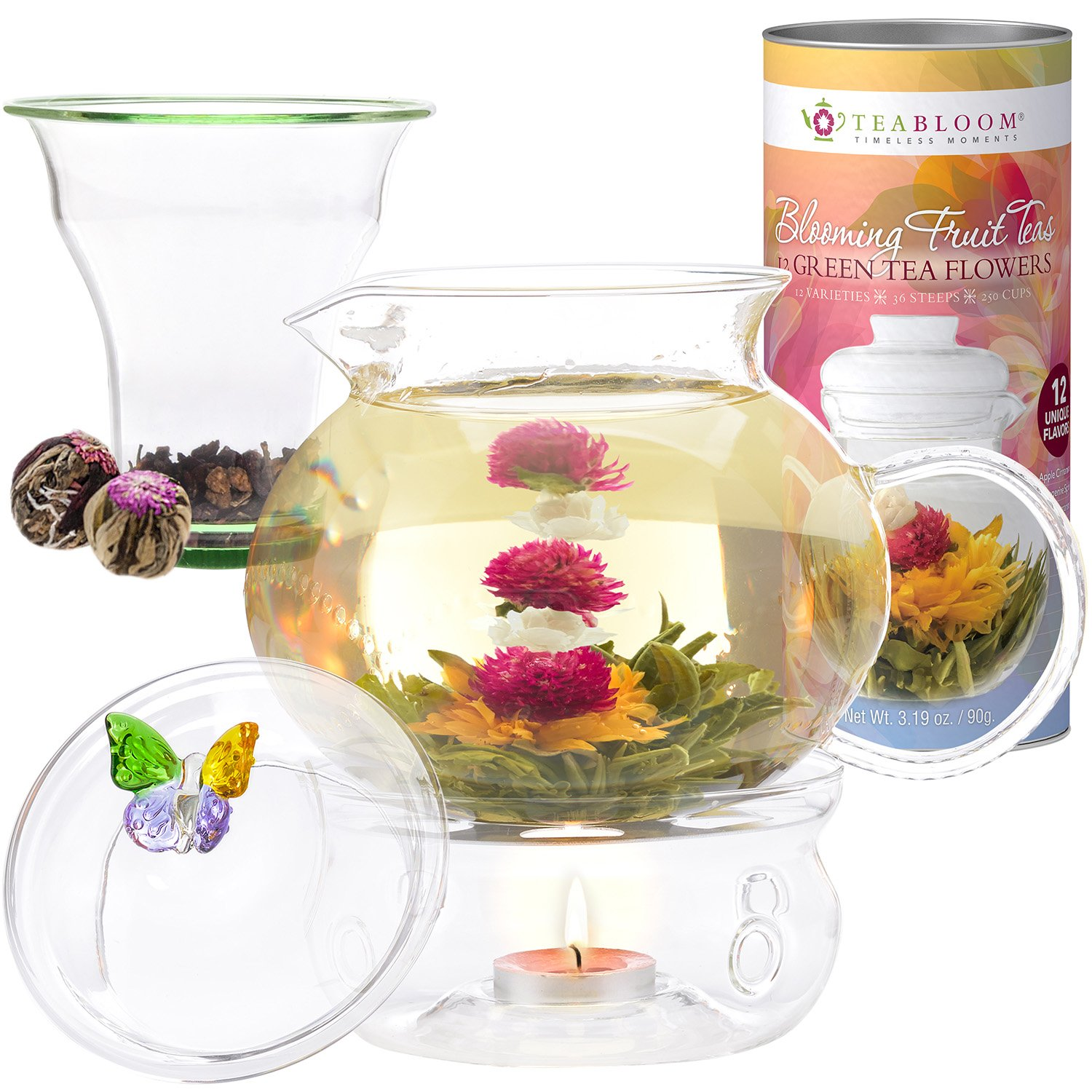 Teabloom Wings of Love Blooming Tea Gift Set - 40 oz Borosilicate Glass Teapot, Teapot Warmer, Glass Loose Tea Infuser, 12 Fruit Flowering Tea Canister