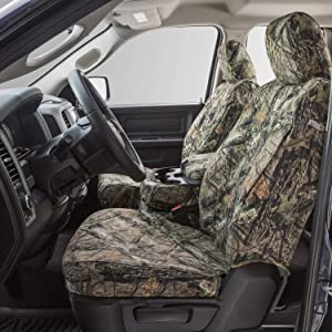 Covercraft Carhartt Mossy Oak Camo SeatSaver Front Row Custom Fit Seat Cover for Select Ram Models - Duck Weave (Break-Up Country) - SSC3457CAMB