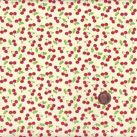 Tela de algodón (140 cm, diseño de cerezas), color rojo: Amazon.es ...