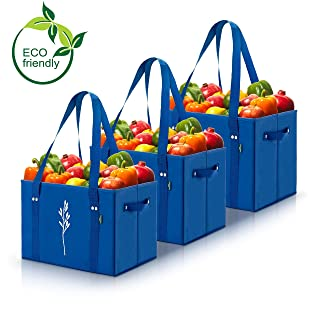 Green BD's Heavy Duty Reusable Grocery Bags with Reinforced Bottom. Collapsible and Spillover Proof Shopping Box Bags with Folding Reinforced Bottom. (Blue – Set of 3)
