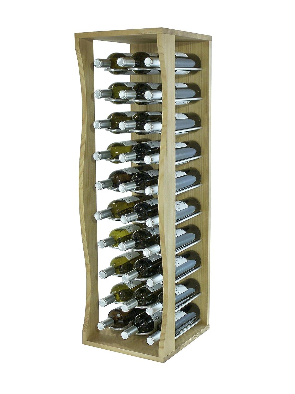 Expovinalia Botellero de Pie Capacidad 30 Botellas, Madera, Marrón, 32x36x105 cm EXQXT EX9030