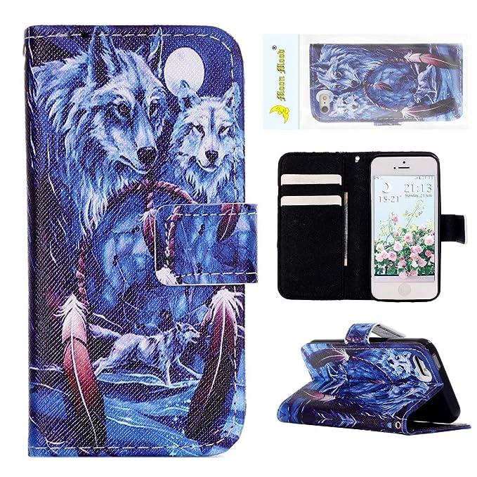 17 opinioni per iPhone 5 5S Flip Cover, Custodia iPhone SE Portafoglio, Moon mood® Colorato