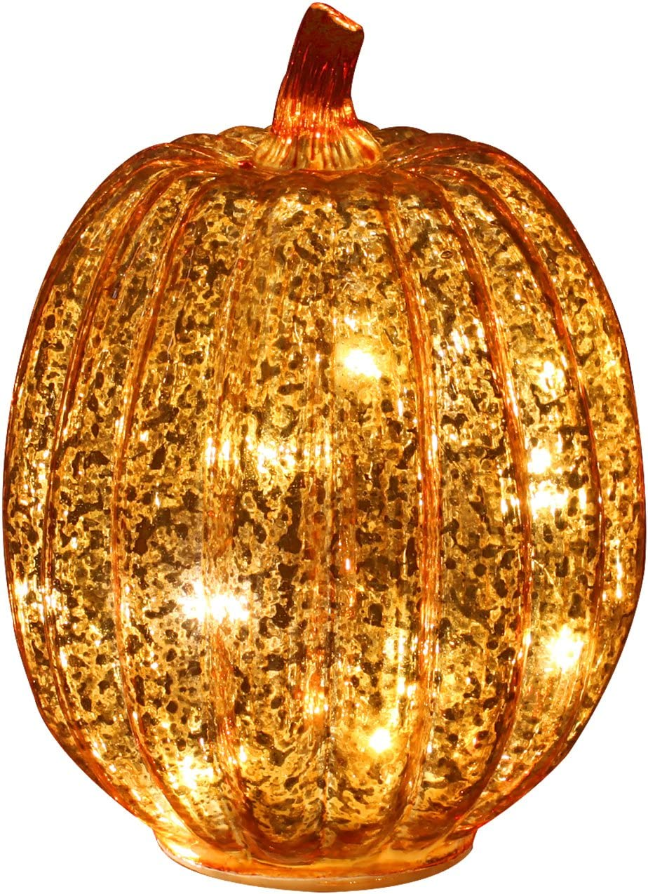 Romingo Mercury Glass Pumpkin Light with Timer for Halloween Pumpkin Decorations Fall and Thanksgiving Decor, Gold 7.5 inches