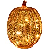 Romingo Mercury Glass Pumpkin Light with Timer for Halloween Pumpkin Decorations Fall Decor, Gold 7.5 inches