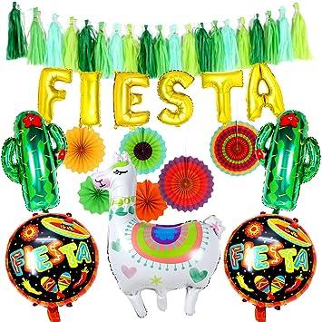 Tacobear Fiestas Mexicano Decoración Party Accesorios Kits Abanicos Papel Fiestas Globo Banner Fiesta Borla Guirnalda Llama Cactus Globos para ...