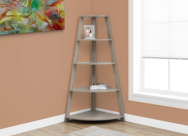 "Monarch Specialties Dark Corner Accent Etagere Bookcase, 60"", Taupe"