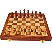 Palm Royal Handicrafts Wooden Folding Handmade Chess Board Set with Magnetic Pieces with Extra Queen | 12.5x12.5 inches…