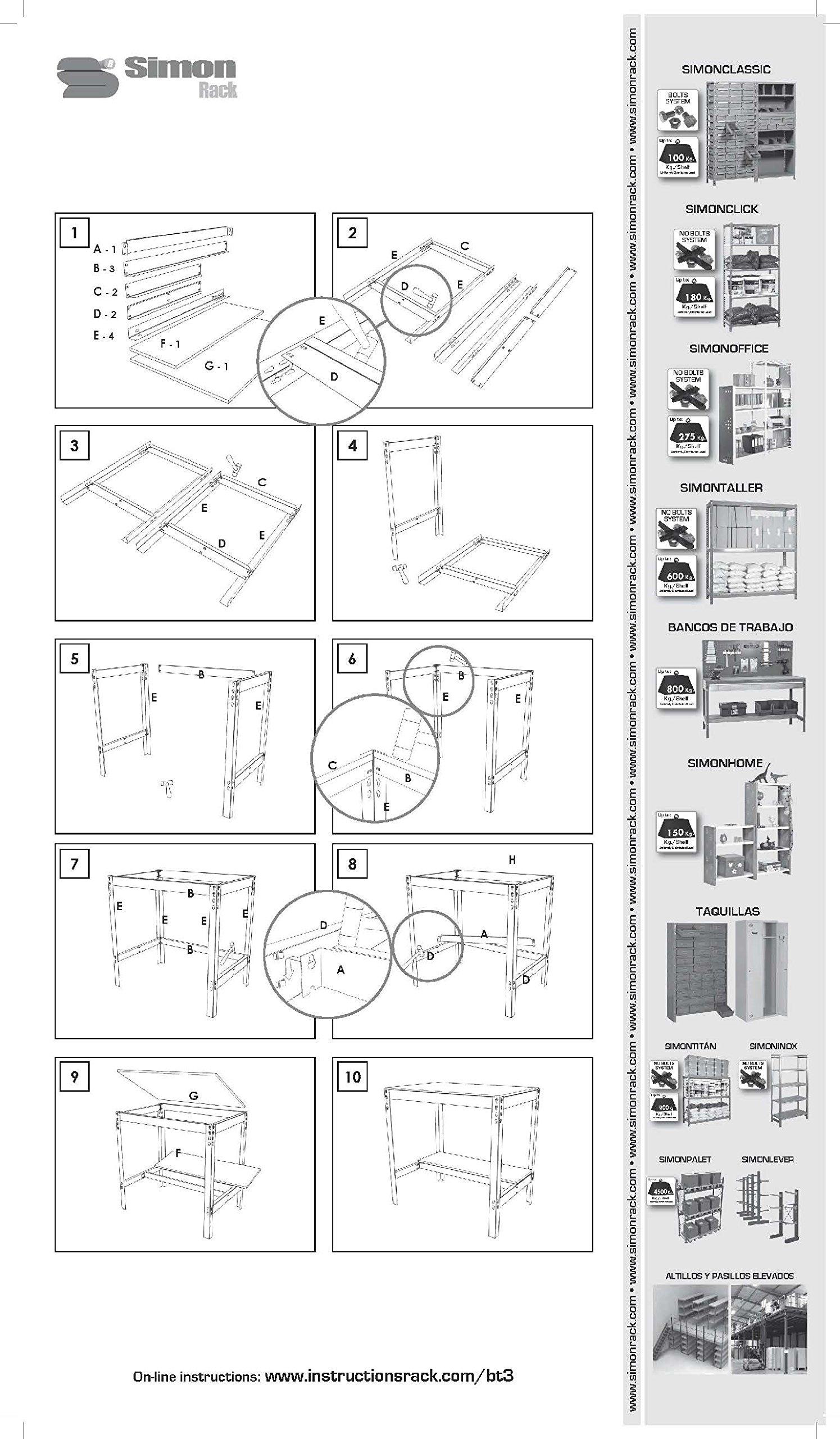 Simonrack BT-3 900 Kit Shelf, Galvanized/Wood