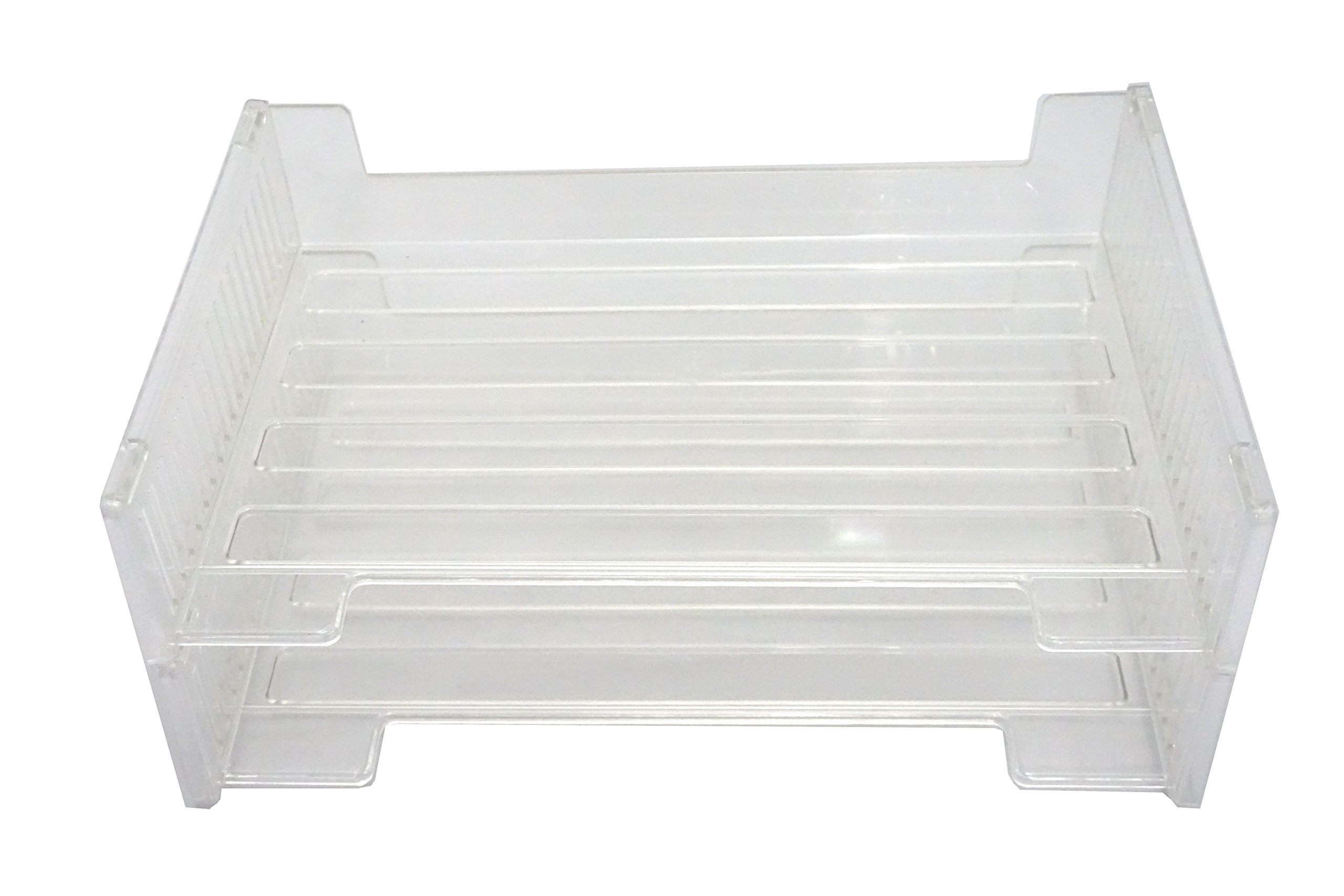 Victor 16221 Stackable Side Loading Letter Tray (2 Pack) Clear Recycled Plastic