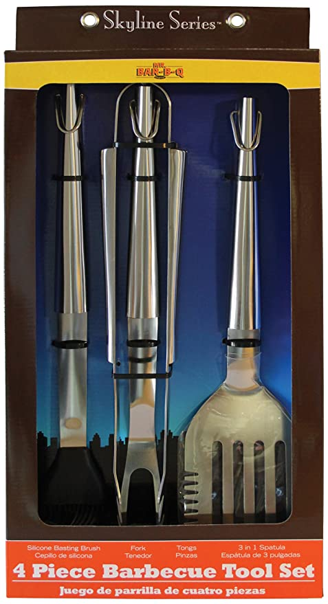 Mr. Bar-BQ 02826X Skyline Stainless Steel Tool Set, 4-Piece