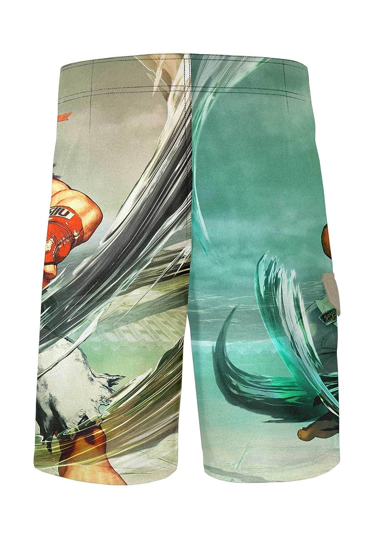 7404f3f45f075 Musterbrand Street Fighter Board Shorts Men Ryu Quick Dry Beach Swim Wear  Green M  Amazon.co.uk  Clothing