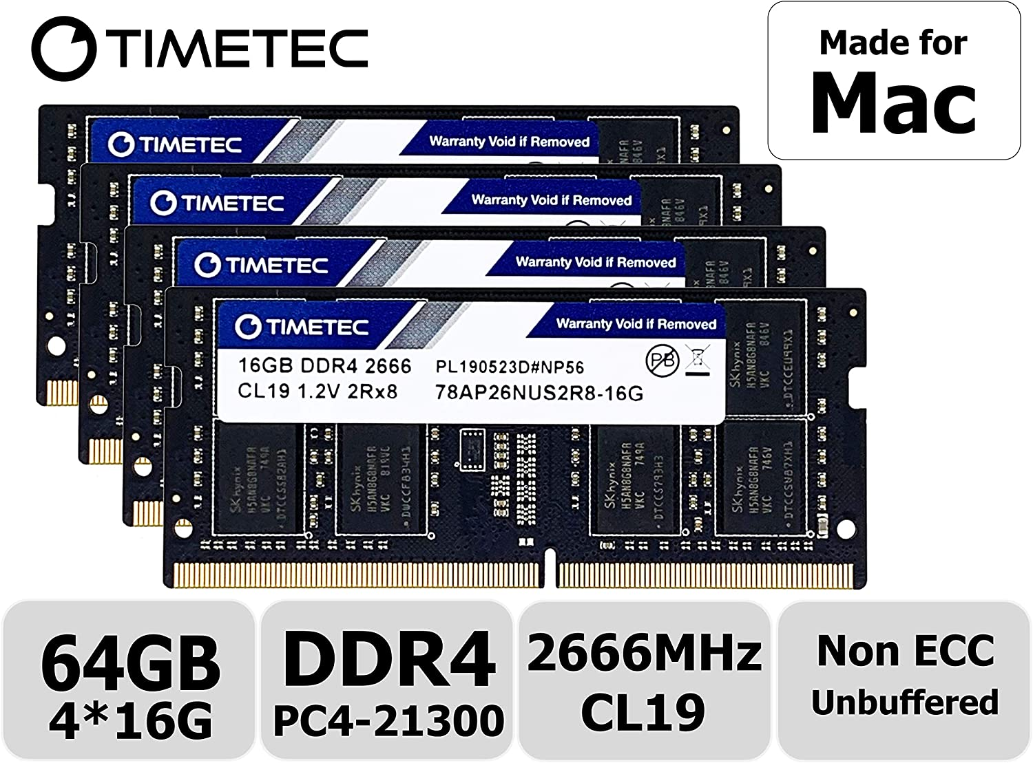Timetec Hynix IC 64GB KIT(4x16GB) Compatible for Apple DDR4 2666MHz for Mid 2020 iMac (20,1/20,2) / Mid 2019 iMac (19,1) 27-inch w/Retina 5K Display PC4-21300 / PC4-21333 CL19 SODIMM Memory MAC RAM