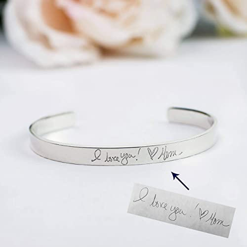 Custom Actual Handwriting Jewelry, Bracelet, Engraved Personalized Cuff,  Sterling Silver Cuff