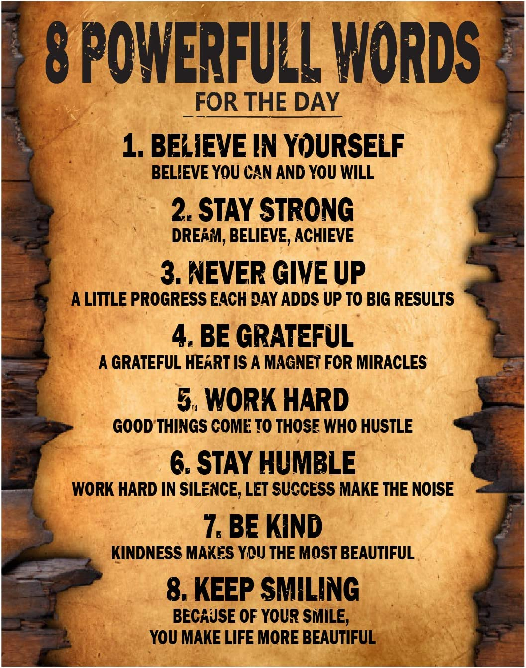 8 Powerful Words for the day Motivational Poster Thick Cardstock Paper, Ready to be Framed 11