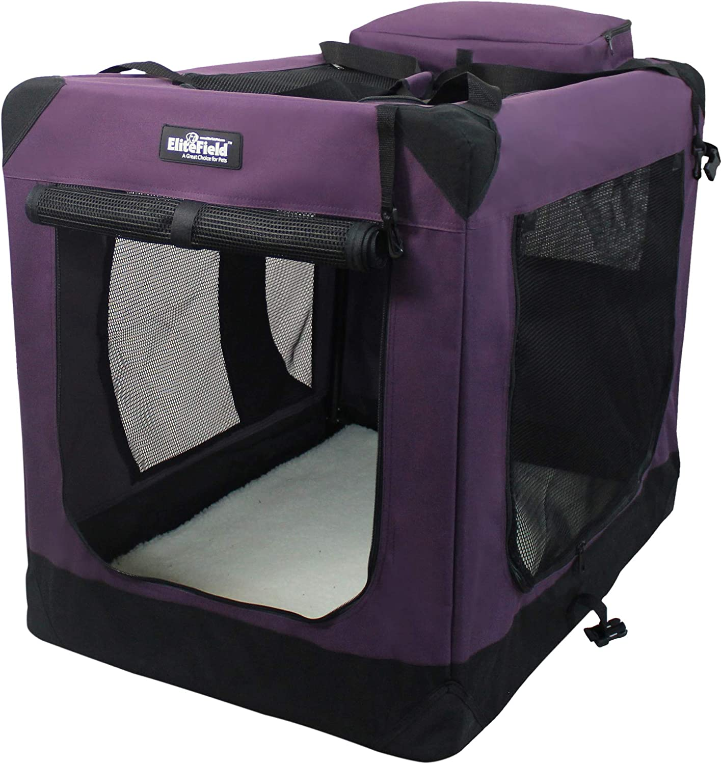 """EliteField 3-Door Folding Soft Dog Crate, Indoor & Outdoor Pet Home, Multiple Sizes and Colors Available (42"""" L x 28"""" W x 32"""" H, Purple)"""