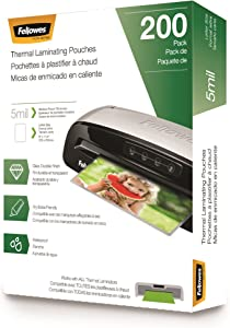 Fellowes Thermal Laminating Pouches, 200 Pack