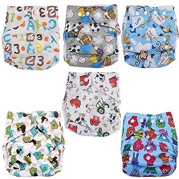 6 pieza Bebé Joven plástico pañales pañal pañales Pantalón cubrepañales – Tamaño ajustable con botón de