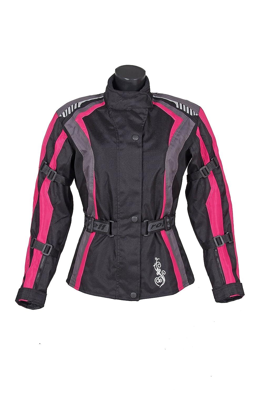 Pink Gute Bel/üftung Gr/ö/ße S ROLEFF RACEWEAR Damen Textil Motorradjacke mit Protektoren Schwarz Taillierter Schnitt