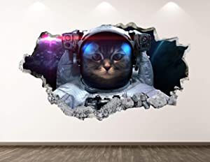 "West Mountain Astronaut Cat Wall Decal Art Decor 3D Smashed Space Sticker Poster Kids Room Mural Custom Gift BL203 (22"" W x 14"" H)"