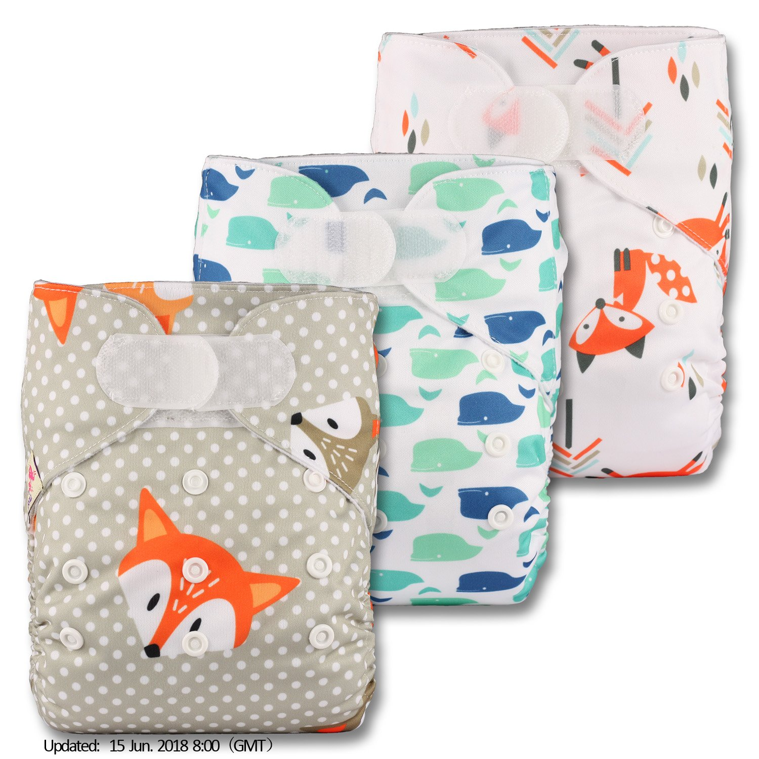 Fastener: Popper Reusable Pocket Cloth Nappy with 3 Microfibre Inserts Patterns 317 Littles /& Bloomz Set of 3