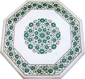 36 x 36 Inches Malachite Stone Island Table Top Handcrafted Dining Table Top Elegant Furniture