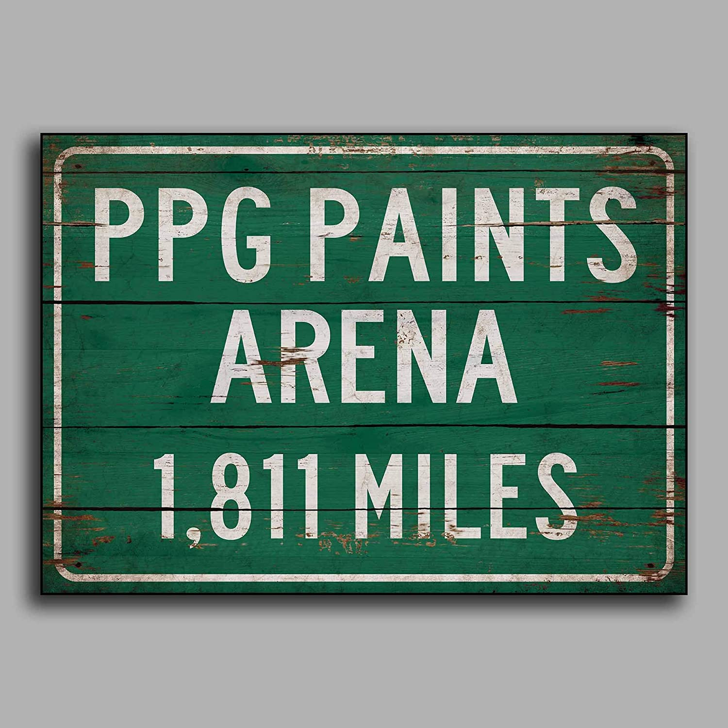 Amazon com burkewrusk personalized highwayroad distance sign to ppg paints home of the pittsburgh penguins print on wooden sign decor wall giftping home