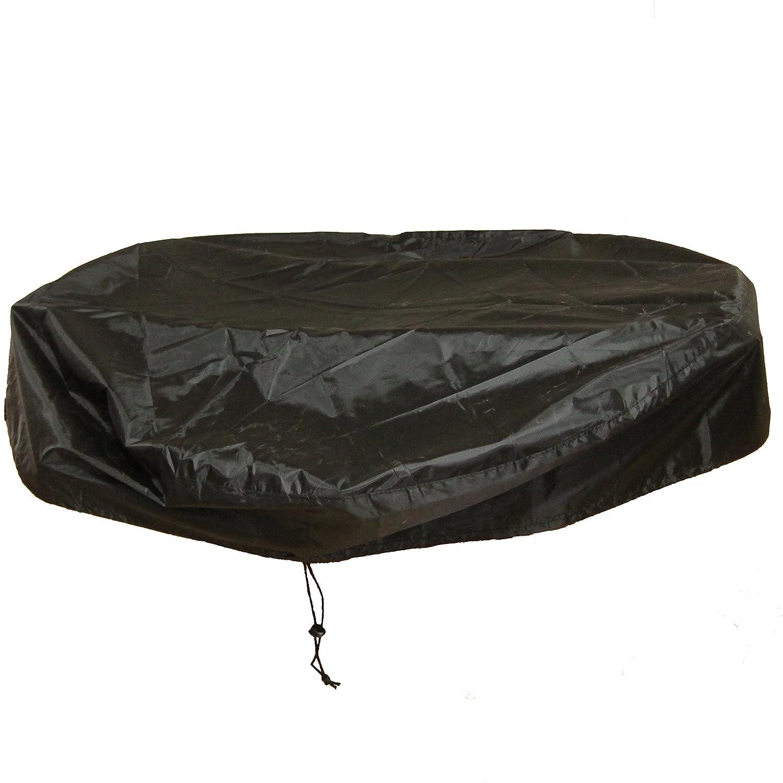 LU2000Housse Ronde pour Foyer d'extérieur, Foyer de Protection Housse de Pluie, Imperméable UV Protect Housse de Pluie, Journal Brûleur Coque (111,8cm P)–Noir