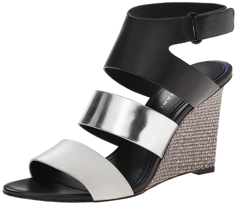 Elie Tahari Women's Palma Wedge Sandal B00T5Q8TKI 37.5 M EU / 7.5 B(M) US|Crome/Argento/Nero
