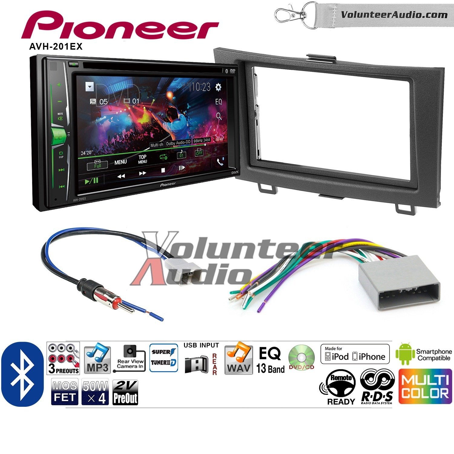 Volunteer Audio Pioneer AVH-201EX Double Din Radio Install Kit with CD Player Bluetooth USB/AUX Fits 2012-2016 Honda CR-V (Without factory amplified systems) by Volunteer Audio (Image #1)