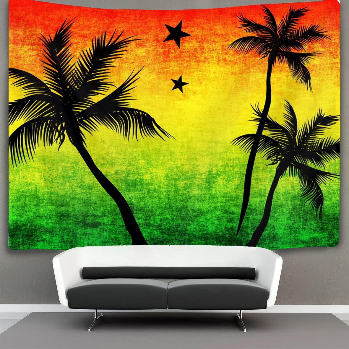 SWEET TANG Tapestry Mandala Tapestry Wall Hanging Tapestries Wall Tapestry Jamaica Rasta Palm Tree Wall Blanket Wall Decor Wall Art Home Decor Collage Dorm Decoration 60 x 90 Inches