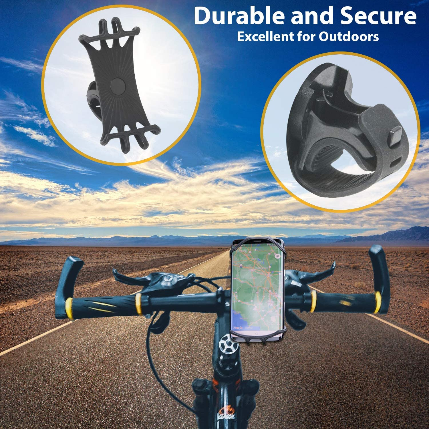 XR MELBLU Bike Phone Mount Adjustable Universal Galaxy 8 Plus Compatible with iPhone 11 7 Bike Accessories Silicone Phone Holder for Bike Max Pro 6 Plus X Motorcycle Phone Mount 8