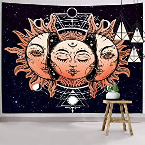 Hexagram Psychedelic Moon Sun Wall Tapestry Indian Bohemian Tapestry Wall Hanging Boho Hippie Tapestry With Mystic Star Wall Art For College Dorm Room Decorations