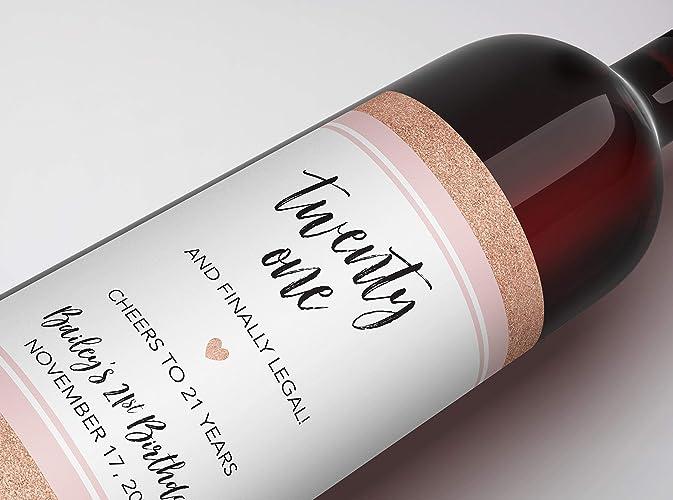 21st Birthday Wine Label