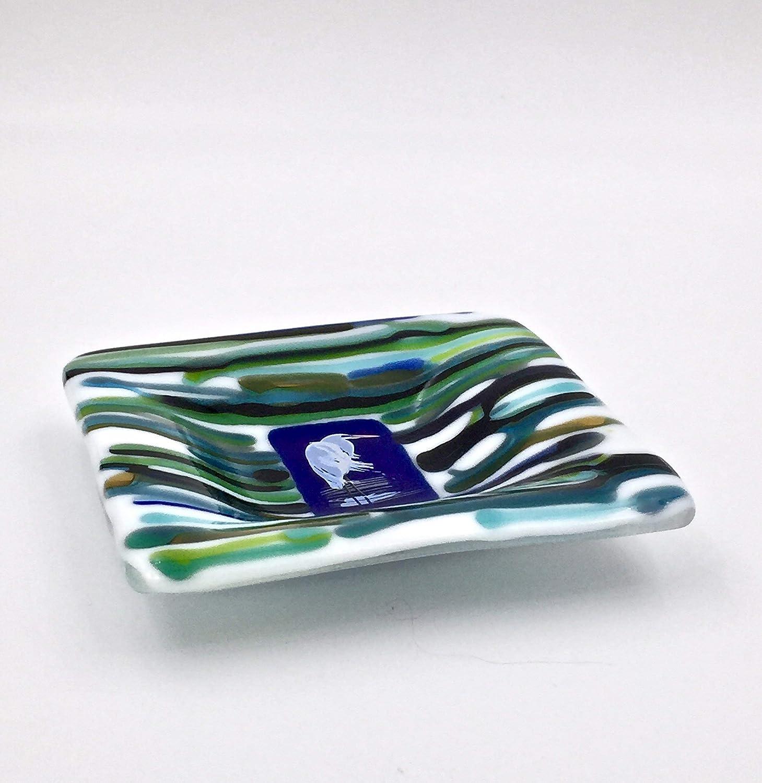 Blue Heron 5 Fused Glass Decorative Bowl Dishes Bowls Kolenik Jewelry