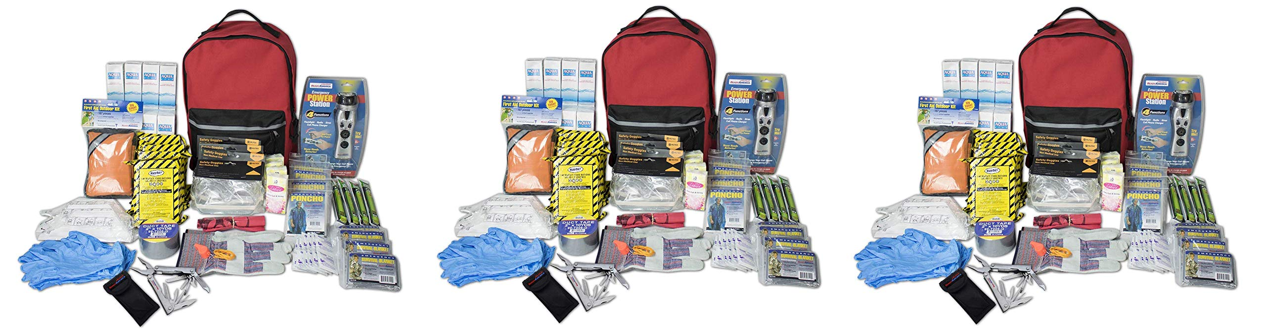 Ready America 70385 Deluxe Emergency Kit 4 Person Backpack (Thrее Расk) by Ready America