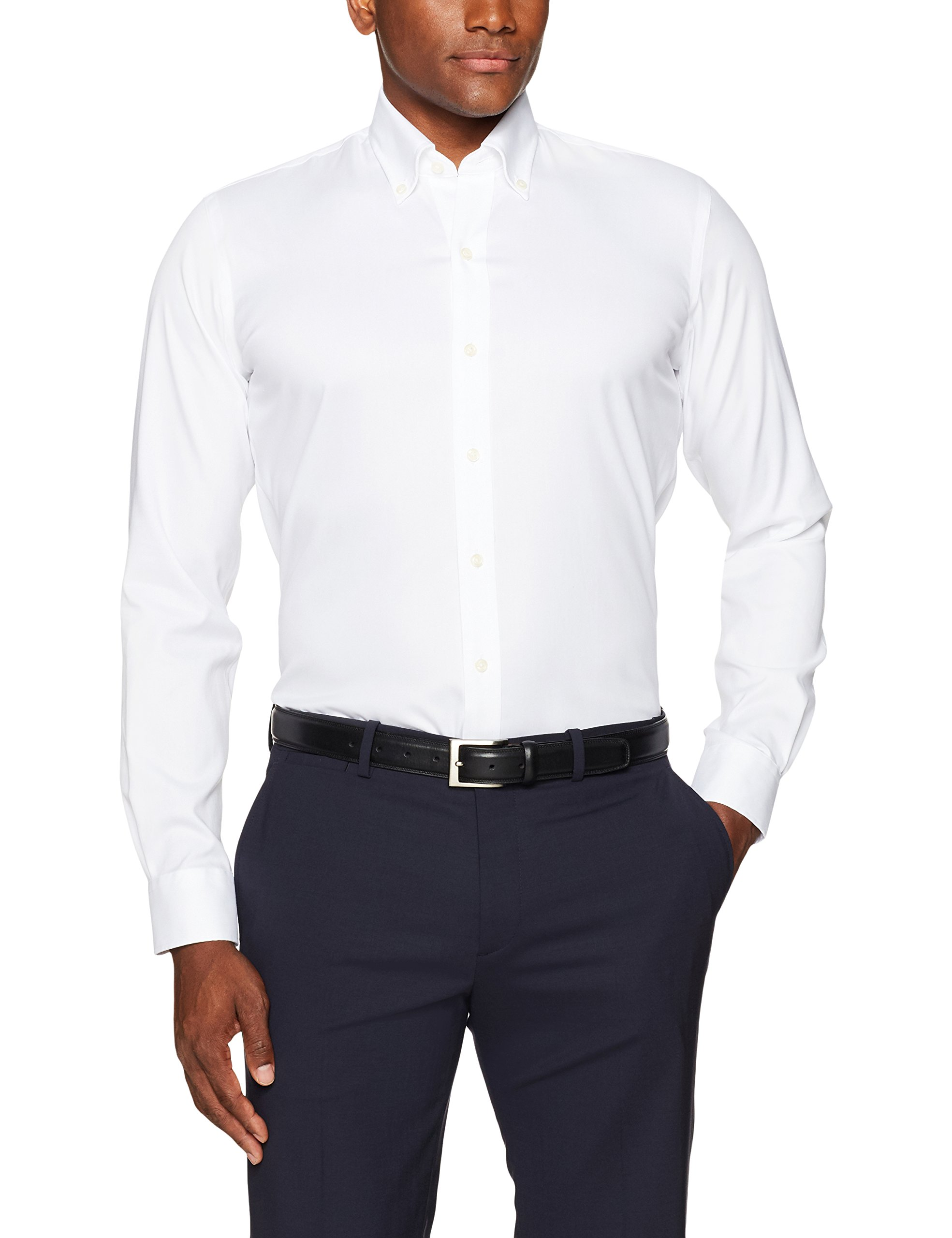 Buttoned down men 39 s slim fit button collar non iron dress for No iron slim fit dress shirts