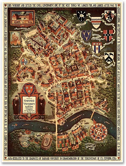 circa 1935 Massachusetts Harvard University /& Radcliffe College MAP Cambridge