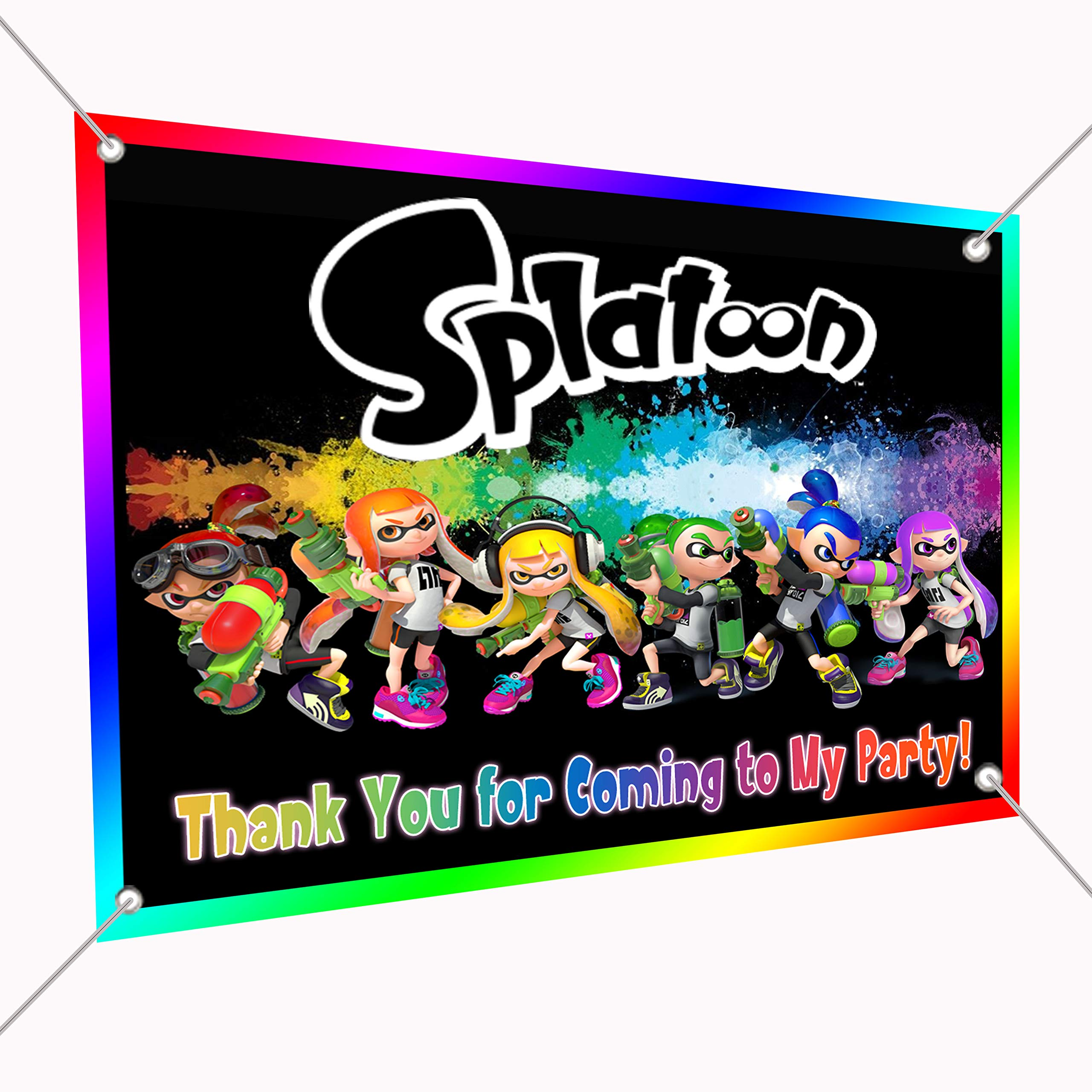 Splatoon Banner Video Game Large Vinyl Indoor or Outdoor Banner Sign Poster Backdrop, Party Favor Decoration, 30'' x 24'', 2.5' x 2', Video Game Truck Party Inklings Squid Sisters Paintball Shooter