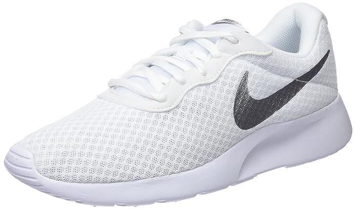 Nike Tanjun Damen Sneaker Laufschuhe Weiß mit Silber Streifen